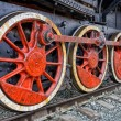 Stock Photo: Old steam locomotive wheels
