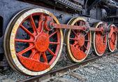 Old steam locomotive wheels — Stock Photo