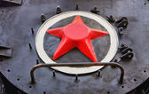 Red star on the old steam train — Photo