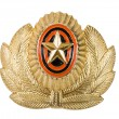 Insignia on russian officer cap — Stock Photo