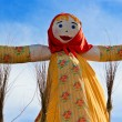 End of winter. Shrovetide. Big doll for burning — Stock Photo #4768733