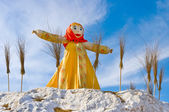 End of the winter. Shrovetide. Big doll for the burning — Stock Photo