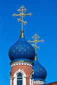 Cupolas of Russian church — Stock Photo