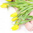 Royalty-Free Stock Photo: Little girl foots with flowers