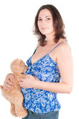 Portrait of pretty pregnant woman with toy — Stock Photo