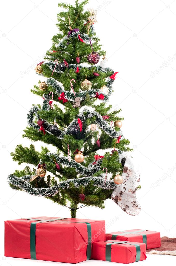 Christmas tree with presents isolated on white  Foto Stock #4040754