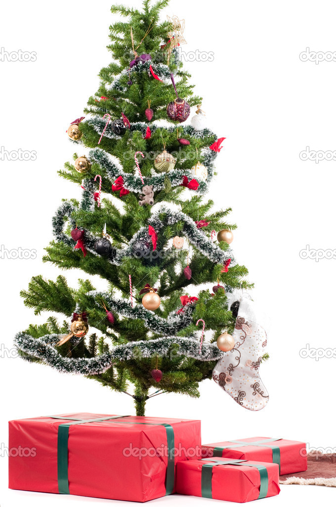 Christmas tree with presents isolated on white — Lizenzfreies Foto #4040754