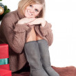 Happy woman with Christmas presents — Foto de Stock