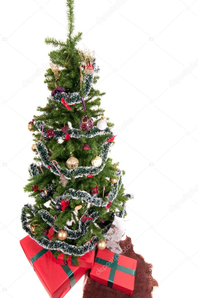 Christmas tree with presents isolated on white  Foto Stock #4088455