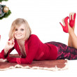 Happy woman with Christmas presents — Foto de stock #4136431