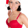Portrait of beautiful woman in red santa hat — Stock Photo #4136813