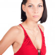 Portrait of beautiful woman in red — Stock Photo