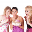 Party with three girls — Stock Photo