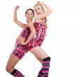 Girls in pink tape dress — Stock Photo