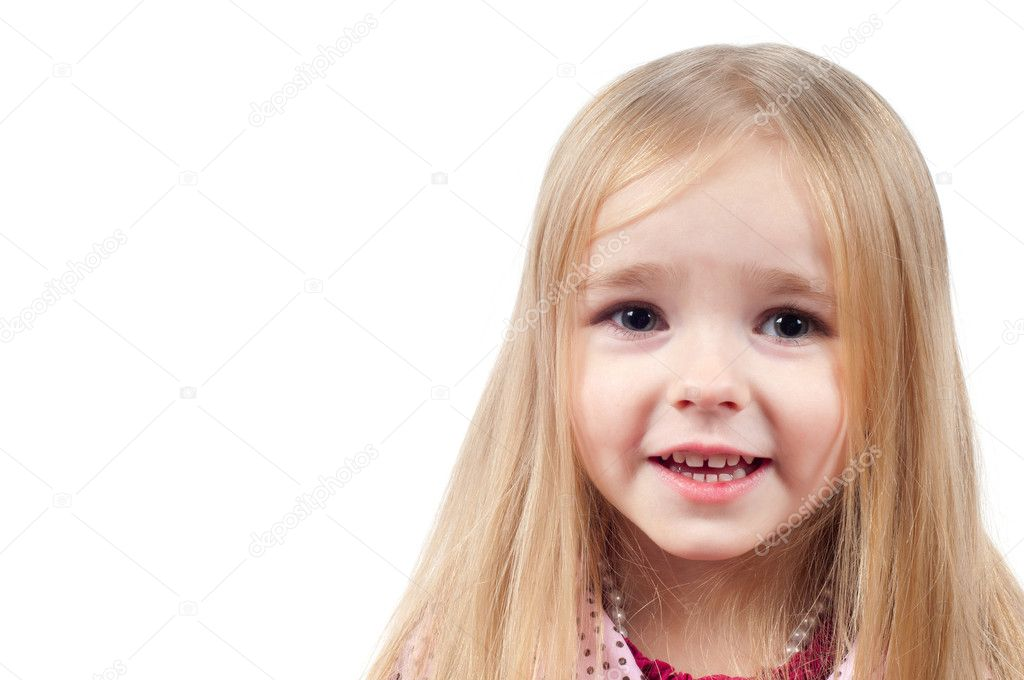 Portrait of little cute girl with long hair isolated on white — Stock Photo #5363235