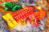 Christmas decorations and gifts — Stock Photo