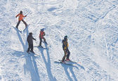 Skiers is skiing at a ski resort — Stock Photo