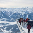 The observation deck with tourists. Dachstein. Austria - Stock Photo
