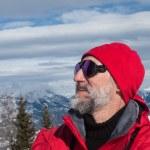 Skier and mountains — Stock Photo