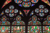 Fragment of stained glass windows in the cathedral of Notre Dame — Stock Photo