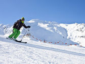 The woman is skiing at a ski resort Solden — Stock Photo