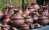 Selling pottery on the street — Stock Photo