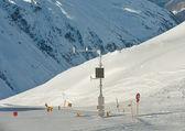 Weather station on snow slope. Ski resort Obergurgl. Austria — Stock Photo