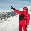 A man shows the slopes of the ski resort of Hochgurgl. Austria — Stock Photo #5033034