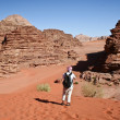Tourist in desert Wadi Rum. Jordan — Stock Photo #5284675