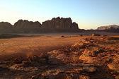 Sundown in desert Wadi Rum. Jordan — Stock Photo