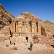 Tourist and the Monastery at Petra Jordan — Stock Photo