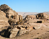 Tomb town Petra, Jordan. Made by digging a holes in the rocks — Stock Photo