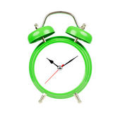 Classic alarm clock. Isolated, green on white. — Stock Photo