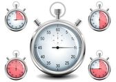 Vector Chrome Stopwatch. — Stock Vector