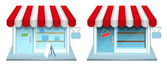 Shop with closed and open door. Vector Icons. — ストックベクタ