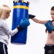 Two woman in sports is a boxing — Stock Photo #4016944