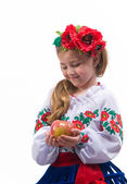 Dívka s jablkem — Stock fotografie