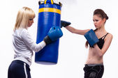 Two woman in sports is a boxing — Stock Photo