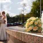 Романтический пейзаж с пара влюбленных — Стоковое фото