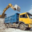 Stockfoto: Lorry transporting stones