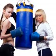 Two woman in sports is a boxing — Stock Photo #4489495
