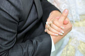 Hands of newlyweds — Stockfoto