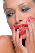 Woman with smeared lipstick — Stock Photo