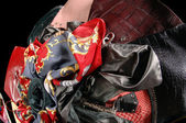 Handbags and scarves — Stock Photo