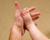 Hands of a man and a young child — Stock Photo