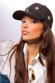 Studio esmer kadın — Stok fotoğraf