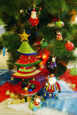 Spruce decorated with toys — Stock Photo