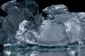 Chunks of ice lay on the ground — Stock Photo