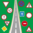 Stock Photo: Road and traffic signs