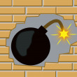 Foto de Stock  : Bomb in wall from brick
